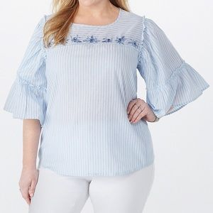 Striped Embroidered Top